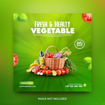 Vegetable and grocery delivery promotion instagram social media post template premium psd