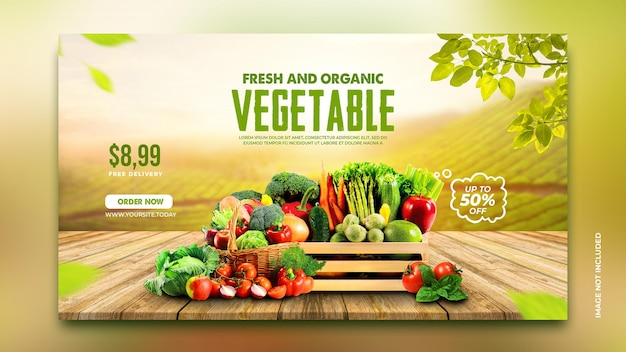 Vegetable and grocery delivery promotion web banner facebook cover instagram template