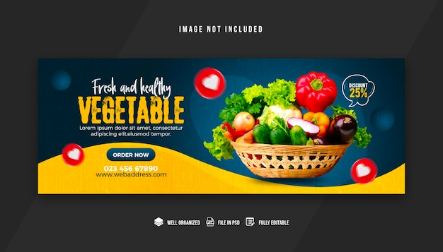 Vegetable and grocery facebook cover design template