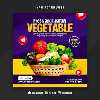 Vegetable and grocery social media promotion post template design