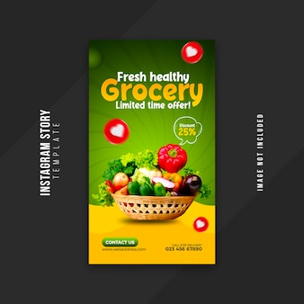 Vegetable and grocery social media story design template