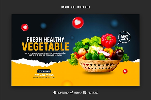 Vegetable and grocery web banner design template