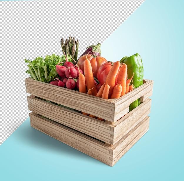 木製の箱のレンダリングで野菜