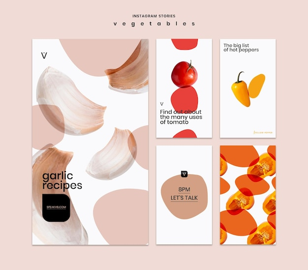 Vegetables concept instagram stories template