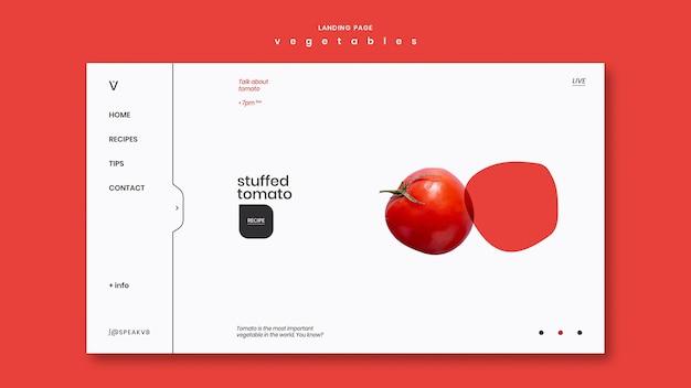 Шаблон целевой страницы концепции овощей
