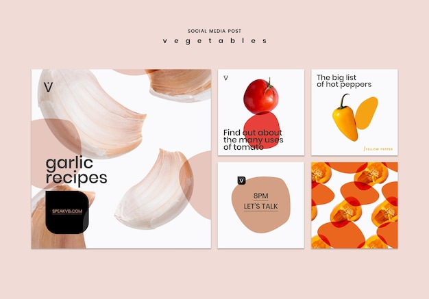 Vegetables concept social media post template Free Psd