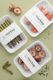 Vegetables in mock-up packaging assortment
