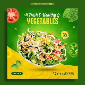 Баннер для продвижения овощей в социальных сетях и шаблон оформления поста в instagram