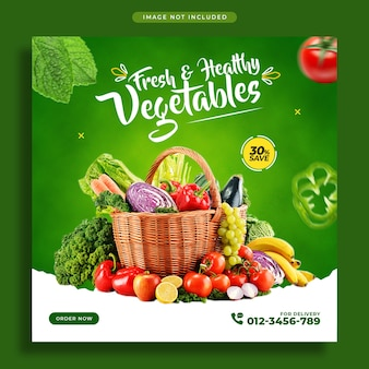 Vegetables social media promotion banner and instagram post design template