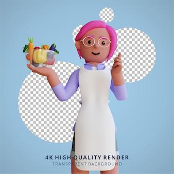 채식 건강 영양 및 야채 식사 그림 3d 렌더링