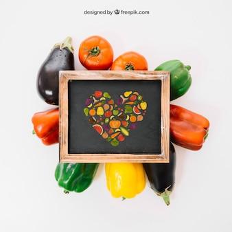 Vegetarian mockup with slate