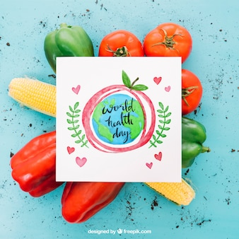 Vegetarian mockup with square paper