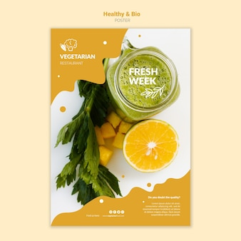 Vegetarian restaurant poster template