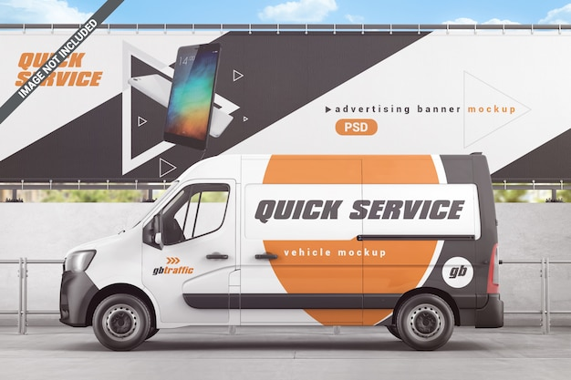 Vehicle with outdoor advertising mockup