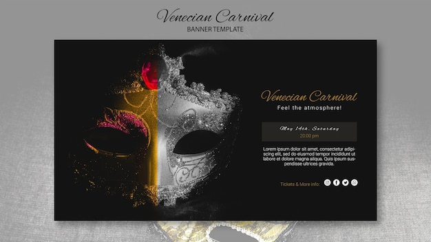 Venice carnival banner template and close-up mask