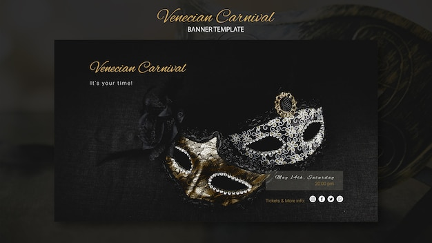 Venice carnival with masks banner