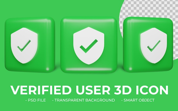 확인 된 사용자 또는 확인 아이콘 3d 렌더링