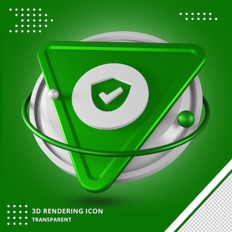 Verified user or verification icon 3d rendering