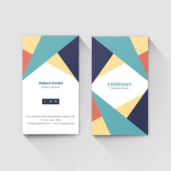 Vertical abstract geometric business card