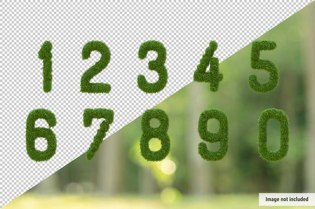 Vertical alphabet of garden tree and green leaves, letter 0-9