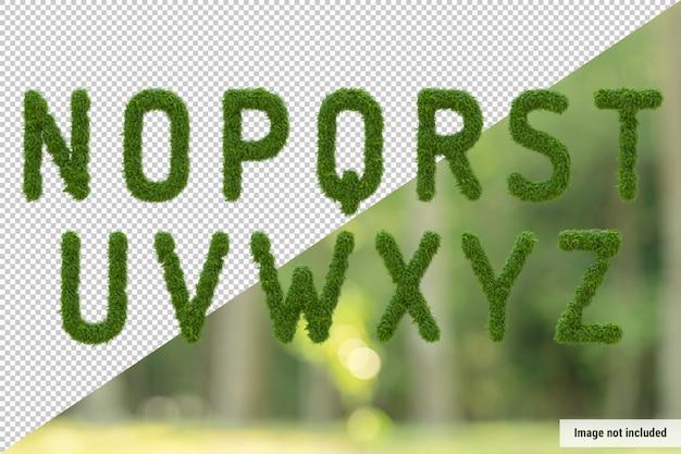Vertical alphabet of garden tree and green leaves, letter n-z