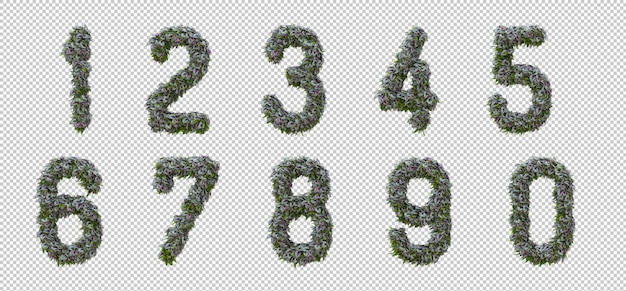 Вертикальный алфавит из садового дерева и зеленых листьев, буквы 0-9