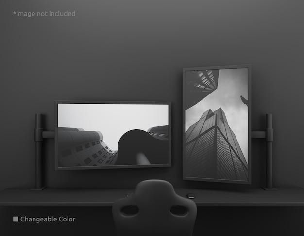 垂直および水平のpcデスクトップ画面のモックアップ