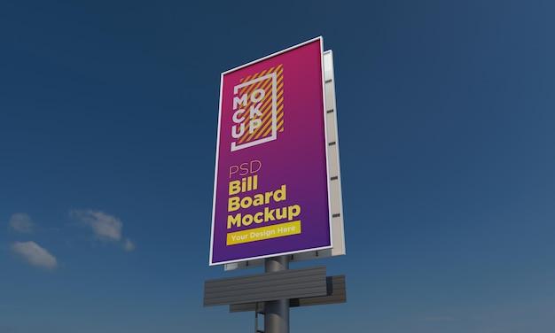 Vertical billboard mockup template, side view