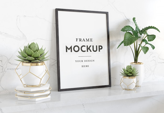 Vertical black frame laying on shelf mockup