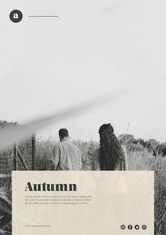 Vertical black and white autumn web template