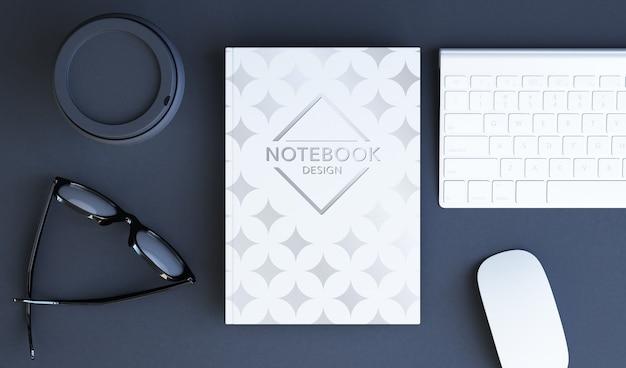 Vertical book cover top view mockup 3d rendering