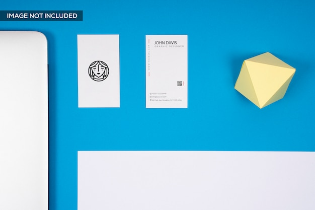 Vertical business card mock up in blue