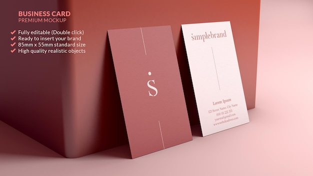 Vertical business card mockup resting on a wall minimal branding design concept