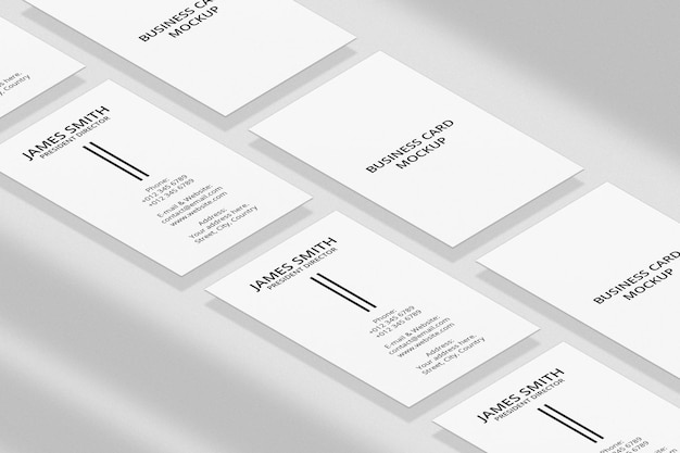 Vertical business card mockup with shadow overlay