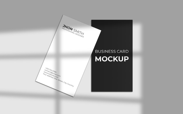 Vertical business card mockup with shadow