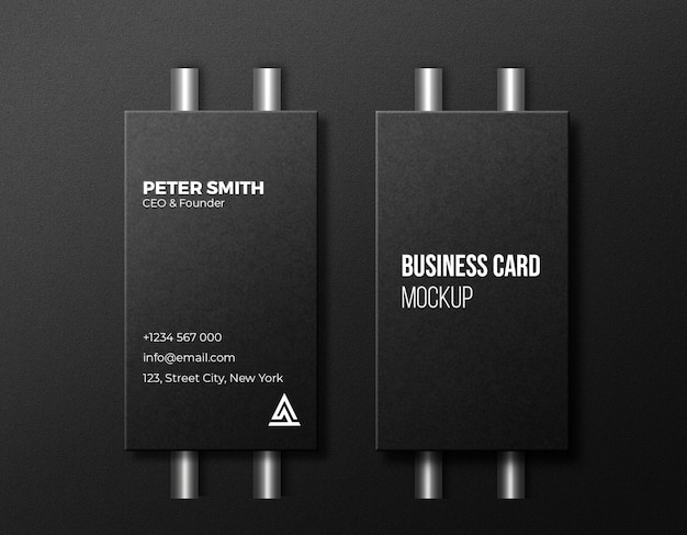 Vertical business card mockup with silver pipe background