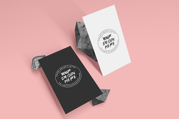 Vertical business card mockup with stone decoration