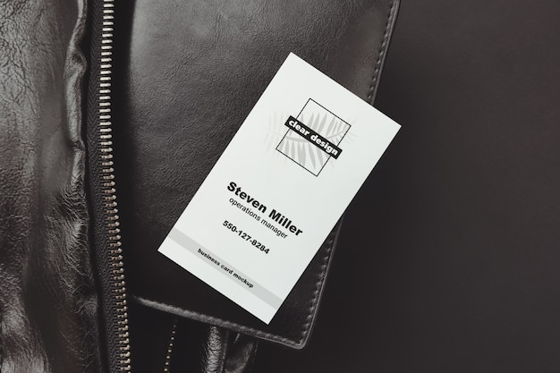 Vertical business card on portmone black scene mockup