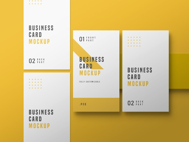 Vertical business card set mockup