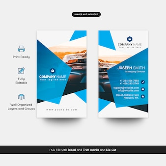 Vertical business card template for rental car