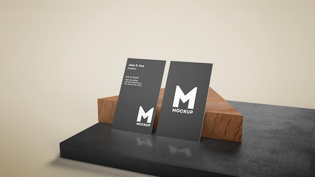 Vertical business card on wooden stage mockup