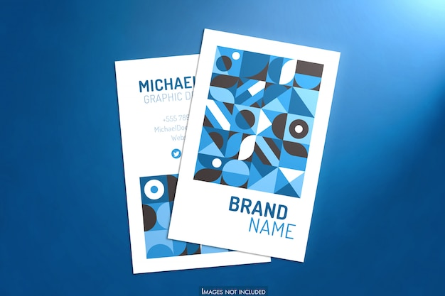 Vertical business cards mockup with soft blue background and light
