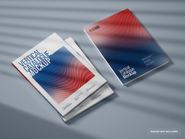 Vertical catalogue and magazine cover mockup