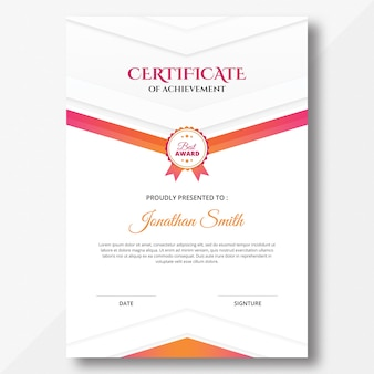 Vertical colored pink and orange geometric shapes certificate design template
