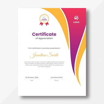 Vertical colored pink and orange waves certificate design template
