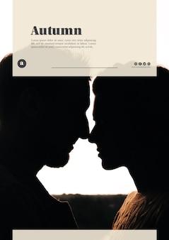 Vertical couple on autumn web template