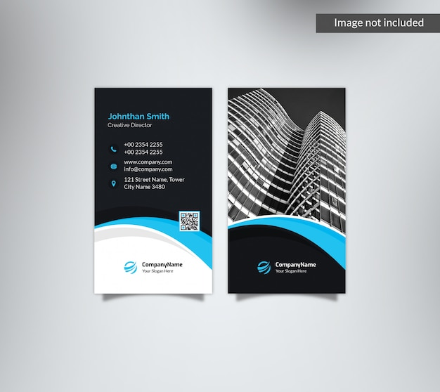 Vertical dark blue business card with image