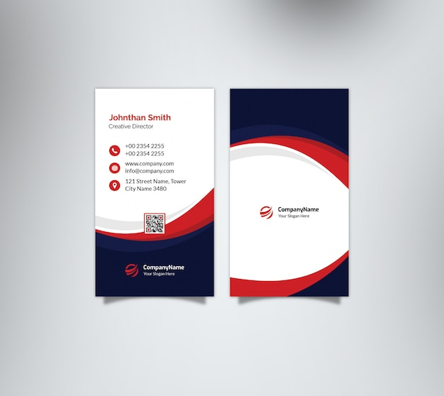 Vertical dark blue & red waves business card
