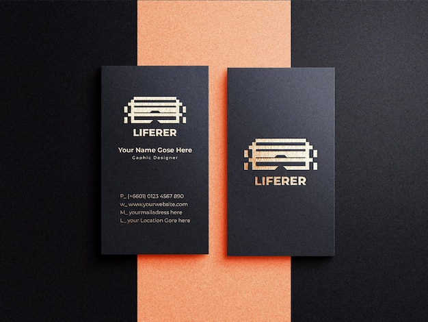 Vertical dark business card mockup with gold effect