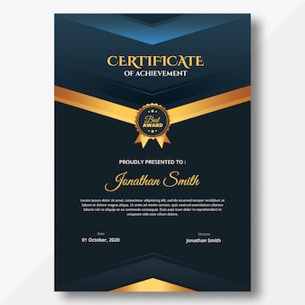 Vertical dark certificate template